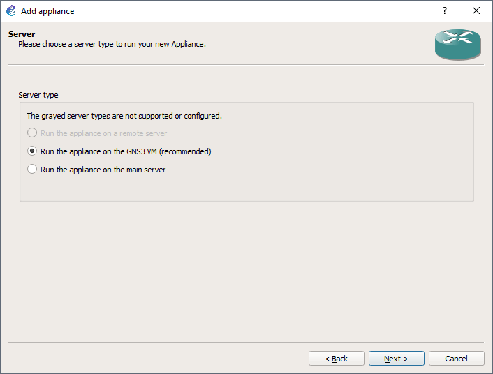 Memilih server untuk perangkat gns3