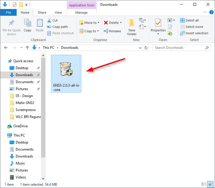 File installer GNS3