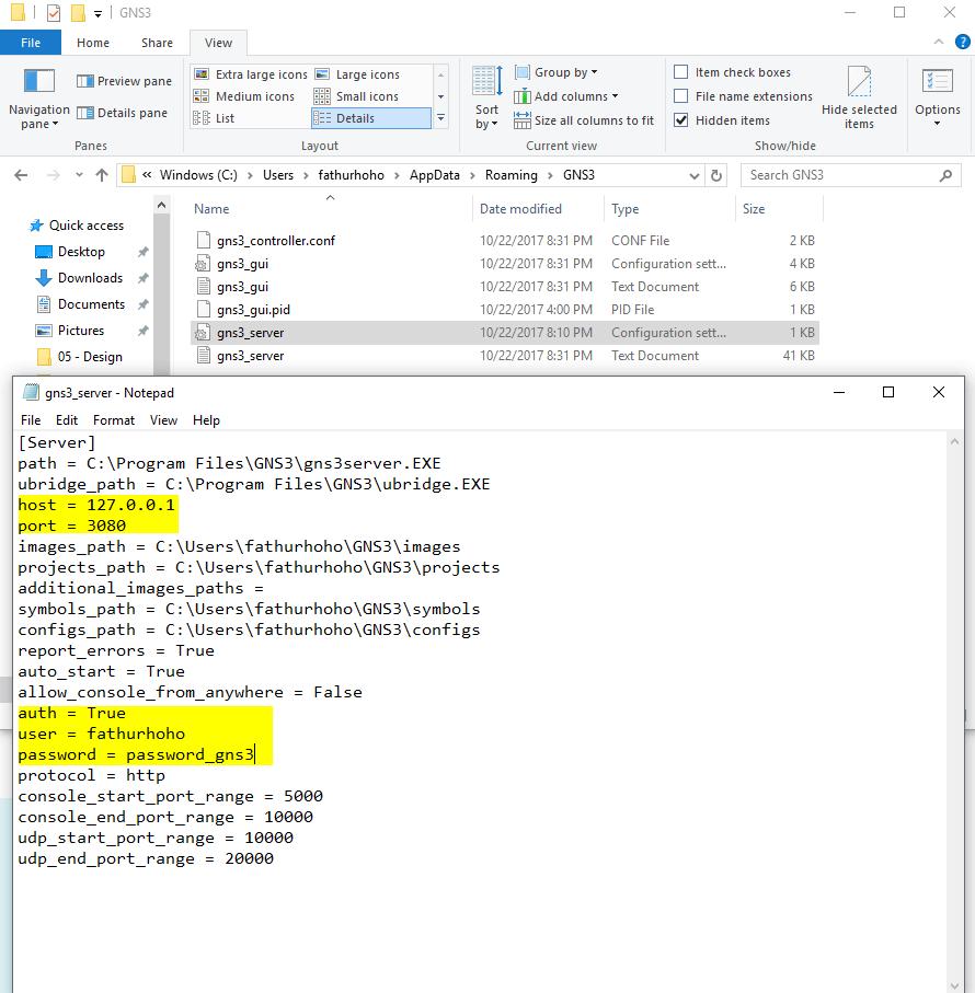 GNS3 Server File Configuration