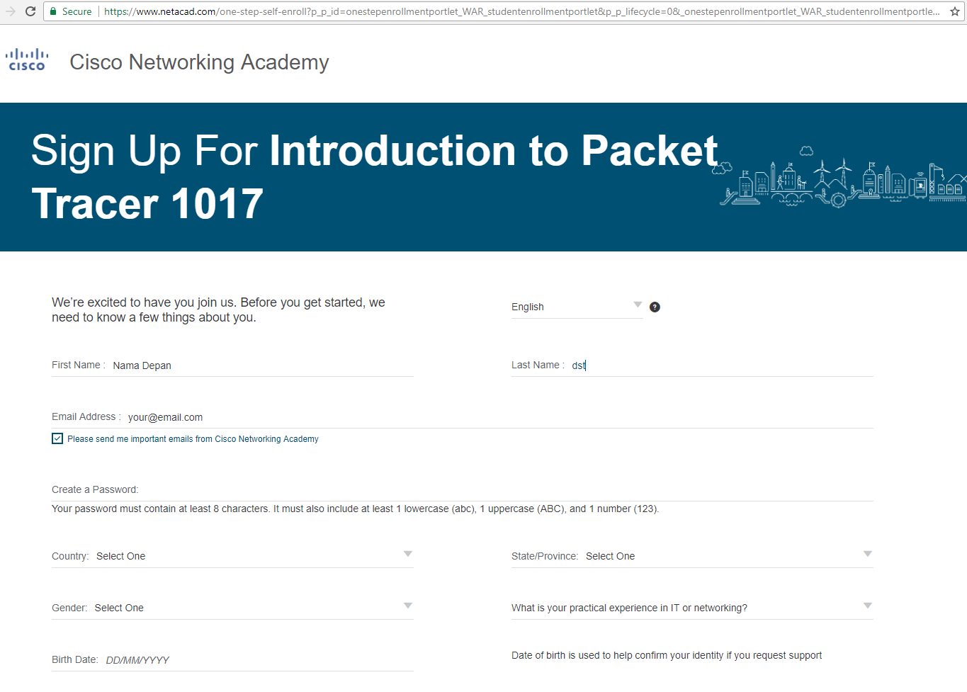 Sign up a course in netacad