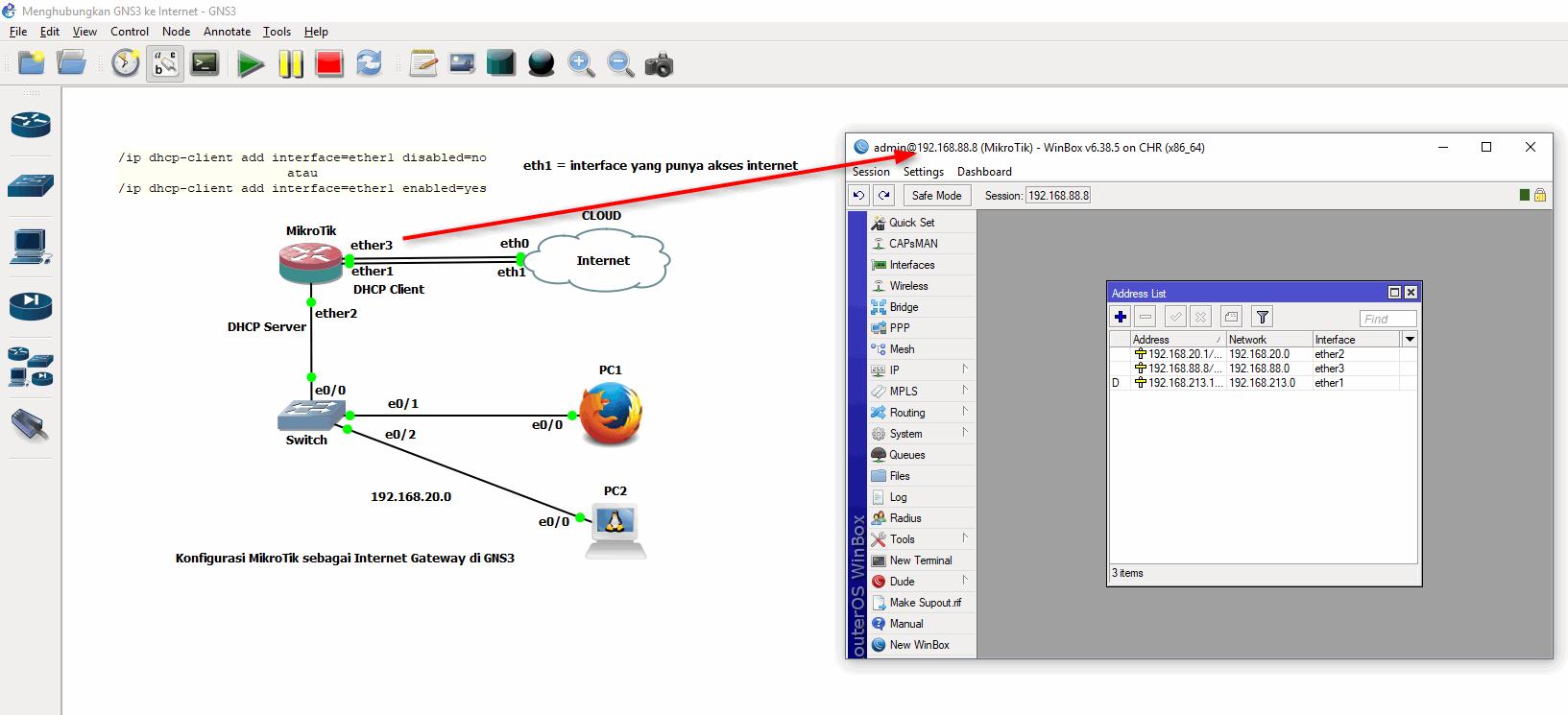 Winbox ke MikroTik GNS3