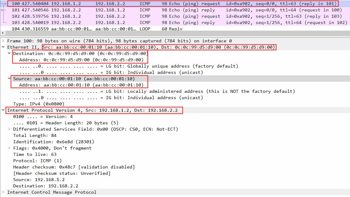 frame dari router ke host-b
