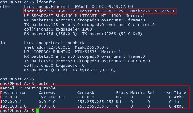 membandingkan network tujuan paket