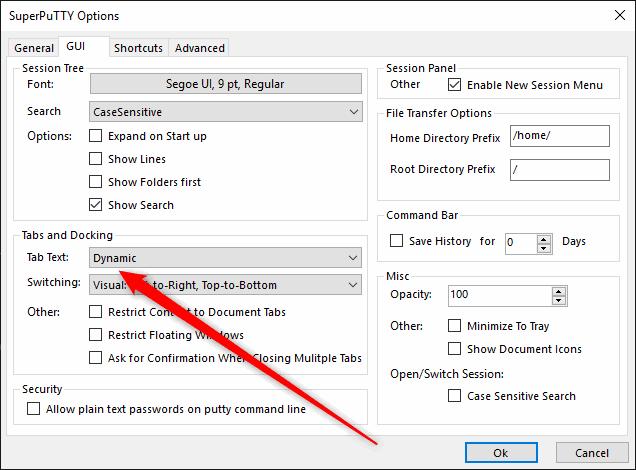 dynamic tab text superputty